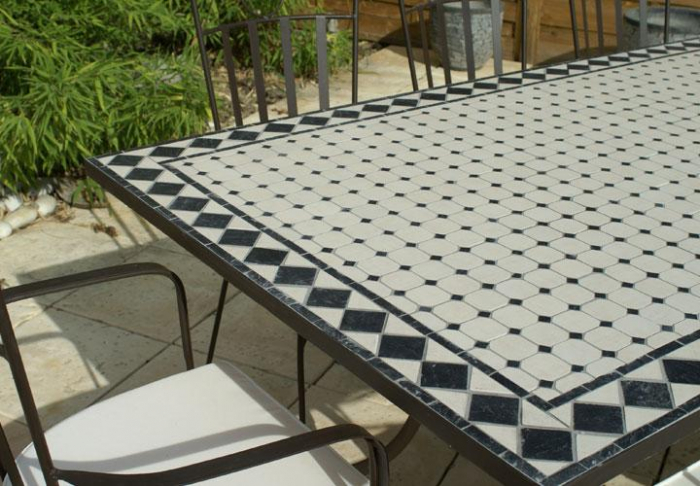 Table Jardin Mosaique Rectangle 200cm Céramique Blanche Et Ses