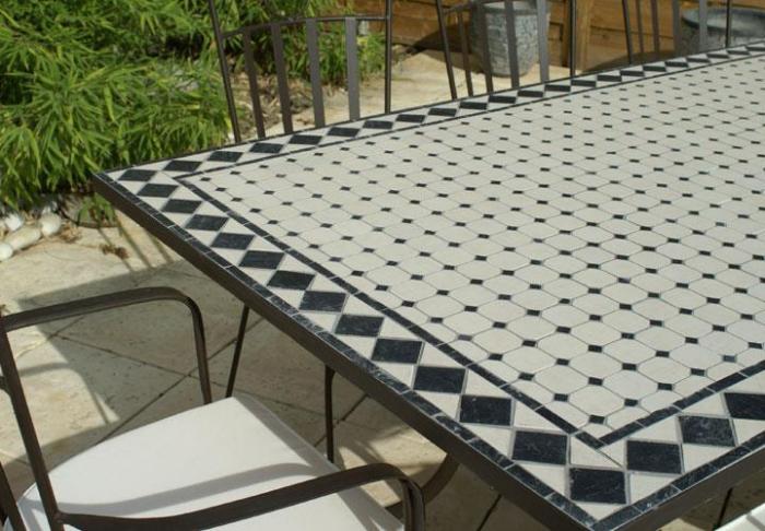 Table jardin mosaique rectangle 200cm Céramique Blanche et ses losanges en  Ardoise