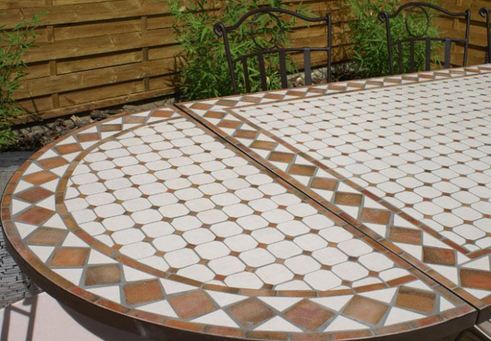 Table jardin mosaique rectangle 200cm c ramique blanche et ses losanges en argile cuite table - Table de jardin en mosaique ...