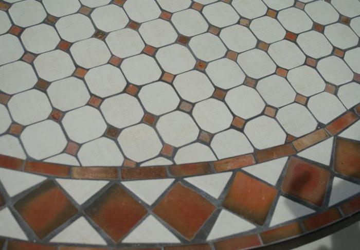 Table Jardin Mosaique Ronde 150cm Blanc Losange Argile Cuite Table Jardin Mosa Que
