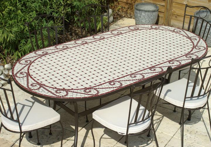 table jardin mosaique ovale 200cm c ramique blanche et ses arabesques en c ramique rouge table. Black Bedroom Furniture Sets. Home Design Ideas