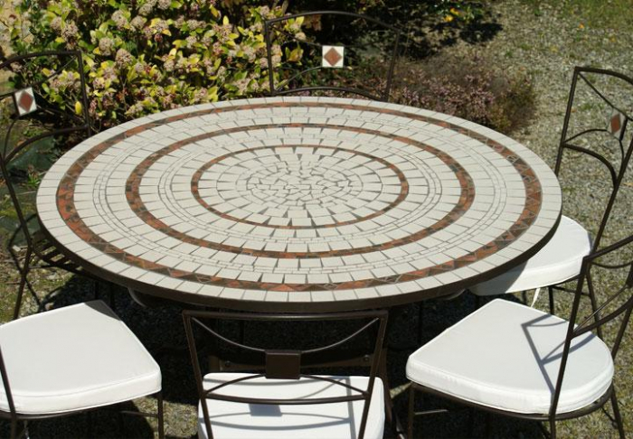 Table exterieur fer forge mosaique table fer forge - Table de jardin en fer forge mosaique montreuil ...