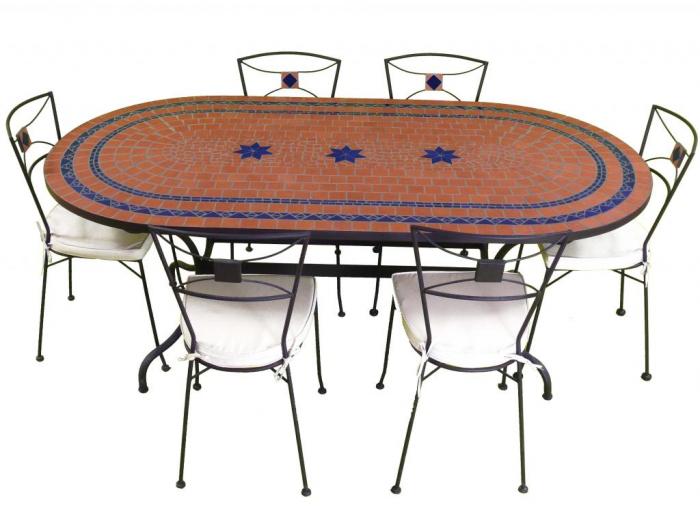 Table Jardin Mosaique Ovale 200cm Terre Cuite 2 Cercles Et