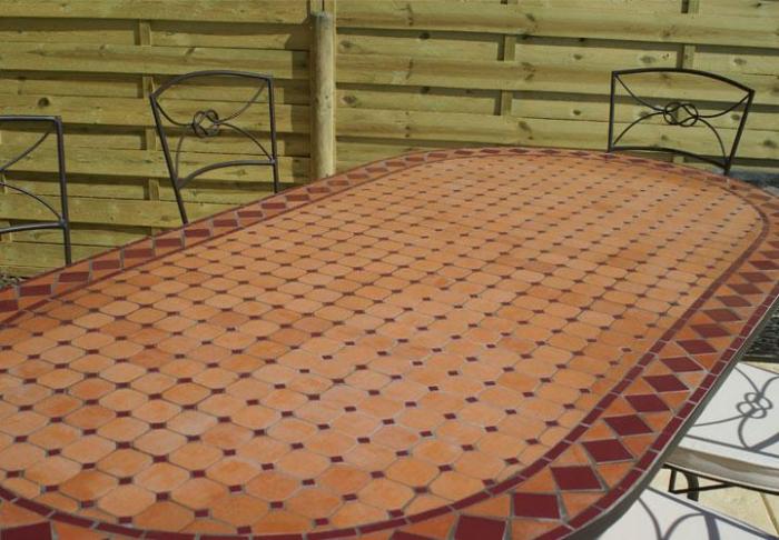 table jardin mosaique ovale 160cm terre cuite et ses losanges rouge table jardin mosa que. Black Bedroom Furniture Sets. Home Design Ideas