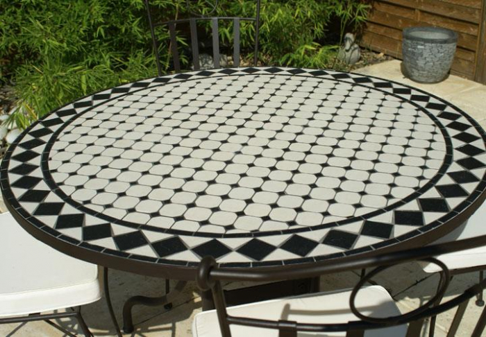 table jardin mosaique ronde 90cm c ramique blanche losange. Black Bedroom Furniture Sets. Home Design Ideas