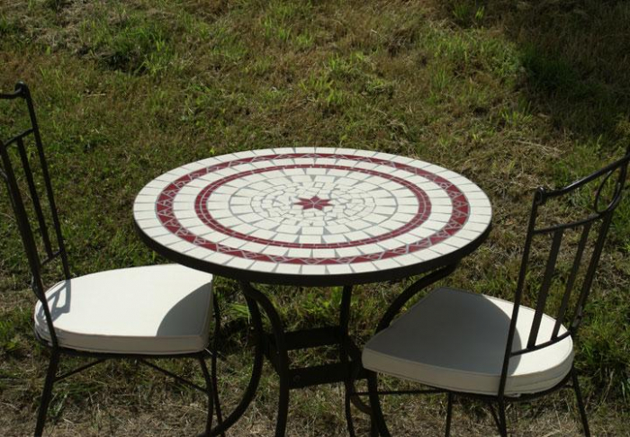 table jardin mosaique ronde 80cm c ramique blanche 2 lignes 1 toile c ramique rouge table. Black Bedroom Furniture Sets. Home Design Ideas