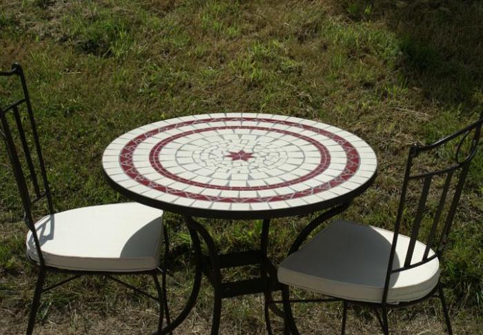 Table Jardin Mosaique Ronde 80cm C Ramique Blanche 2