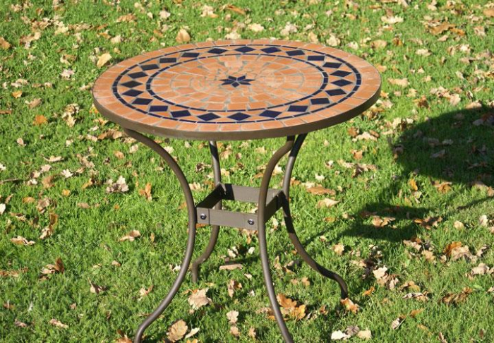 table jardin mosaique ronde 80cm en terre cuite et losange 1 toile en c ramique bleue table. Black Bedroom Furniture Sets. Home Design Ideas