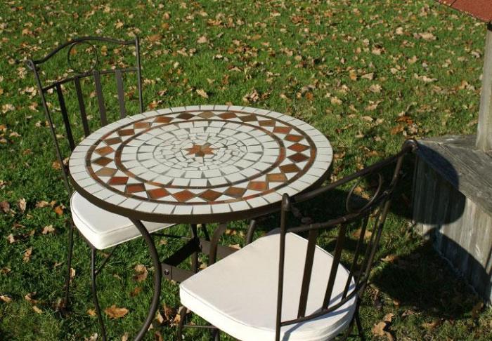 Table jardin mosaique ronde 80cm c ramique blanche losange - Table de jardin ceramique et fer forge ...